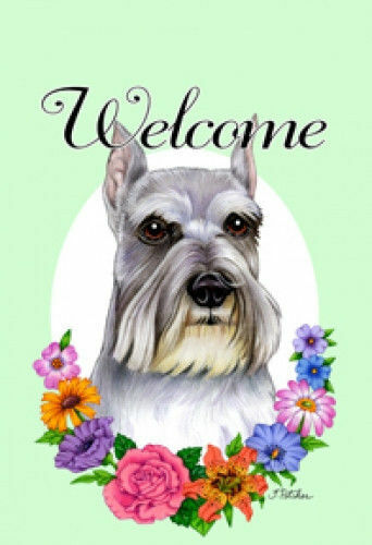 Welcome Flowers Garden Flag - Shnauzer 630121