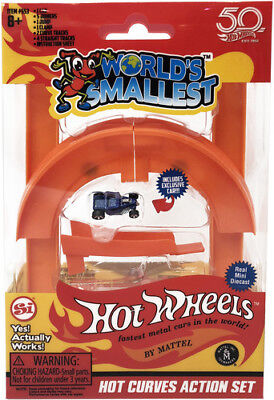 World's Smallest: Hot Wheels Mini World Curve & Jump Set (Includes 1car) [New To