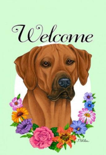 Welcome Flowers House Flag - Rhodesian Ridgeback 63088