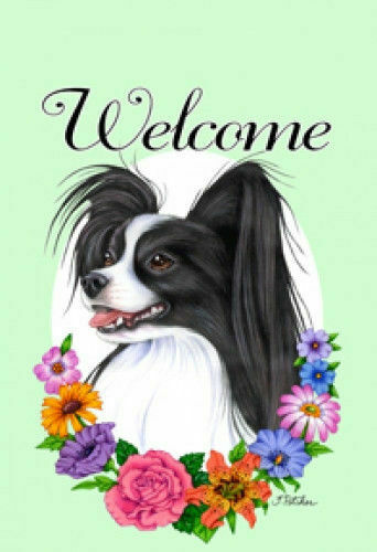 Welcome Flowers House Flag - Black and White Papillon 63078