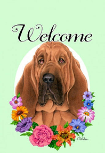 Welcome Flowers House Flag - Bloodhound 63073