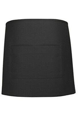 Chef Server Waiter Waitress Black Half Bistro Apron 2 Pocket 19 L X 28 W