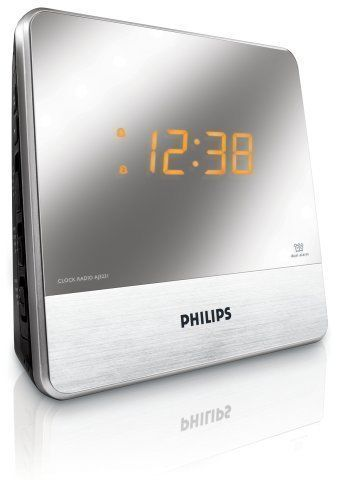 Philips AJ3231 Dual Alarm Clock Radio, Aux MP3 Player With Mirror Finish™