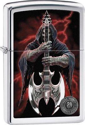 """Zippo """"Anne Stokes-Grim Reaper & Guitar"""" High Polish Chrome Lighter, 29109"""
