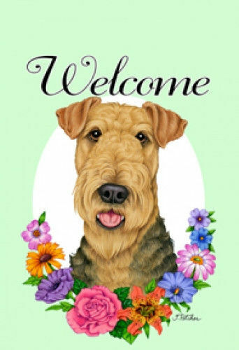 Welcome Flowers House Flag - Airedale Terrier 63027