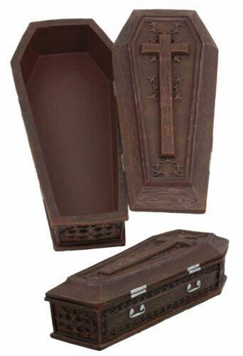 "Ebros Vampire Dracula Crucifix Coffin Jewelry Box Casket Trinket Box 8""L"
