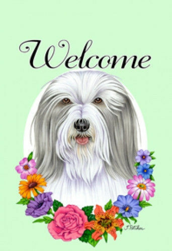 Welcome Flowers House Flag - Bearded Collie 63170