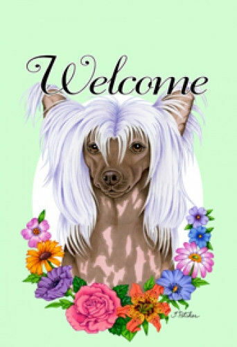 Welcome Flowers House Flag - Chinese Crested 63069