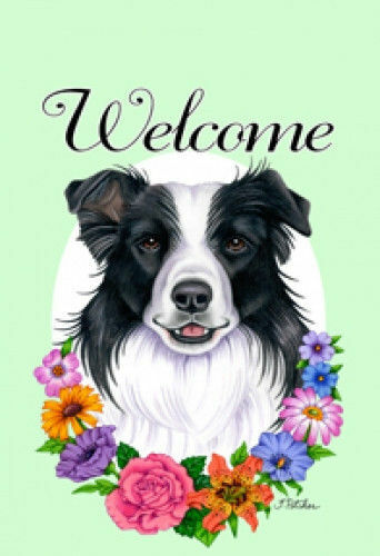 Welcome Flowers House Flag - Border Collie 63030