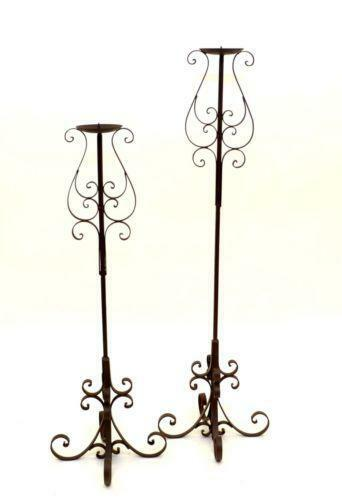 Iron floor candle holders ebay for Floor candle holders