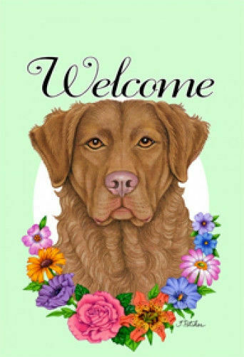 Welcome Flowers House Flag - Chesapeake Bay Retriever 63070