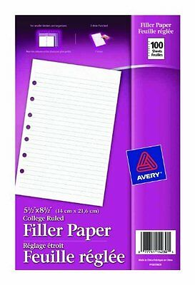 "Avery Mini Binder Filler Paper - College Ruled - 5.50"" X 8.50"" - 100 / Pack -"
