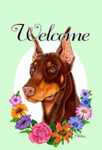 Welcome Flowers Garden Flag - Red Doberman Pinscher 630661