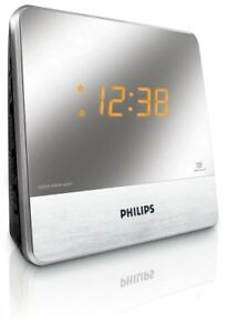 Philips AJ3231 Dual Alarm Clock Radio, Aux MP3 Player With Mirror Finish