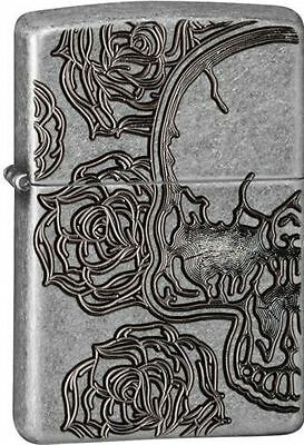 Zippo Antique Armor Deep Carved Lighter With Skull & Rose, 28988, New In Box