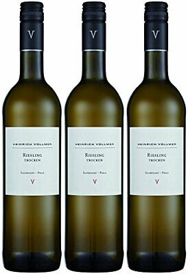 Heinrich Vollmer Riesling QbA trocken Weißwein aus der Pfalz 750ml 3er Pack