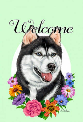 Welcome Flowers House Flag - Siberian Husky 63038