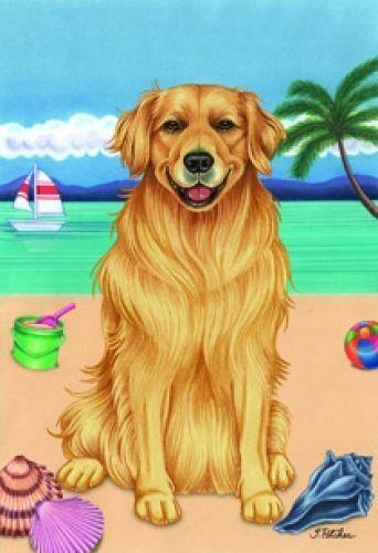 Beach Garden Flag - Golden Retriever 690051
