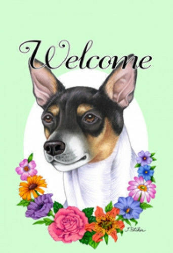 Welcome Flowers House Flag - Rat Terrier 63130