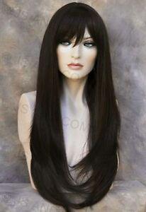 Human Hair Blend Long Straight Dark Brown HEAT SAFE Wig with bangs wil 4