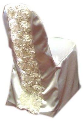 50 Rosette Satin Chair Sashes Bows 6x108 Ribbon Wedding Decoration 10 Colors