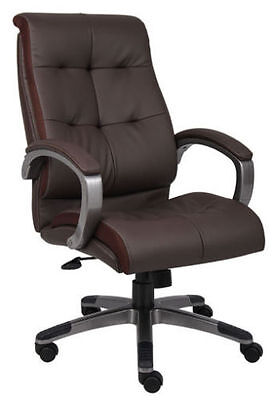 Lot Of 6 Brown Leather High Back Conference Room Office Chairs