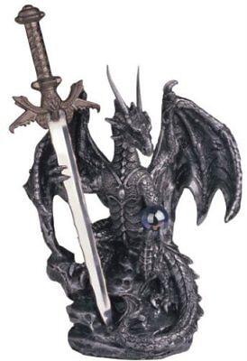 Dragon & Sword Steel Fantasy Home Decor Statue Figurine Collectible Perfect Gift
