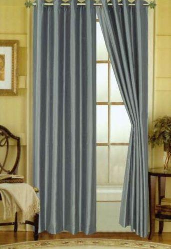 Faux Silk Grey Curtains Ebay