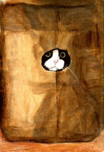 BCB Tuxedo Cat Peeking From a Paper Bag Print of Painting ACEO 2.5 x 3.5 Inches