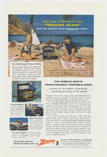 Vintage Zenith Trans-Oceanic Portable Radio Photo Lithograph Ad Man Cave Decor