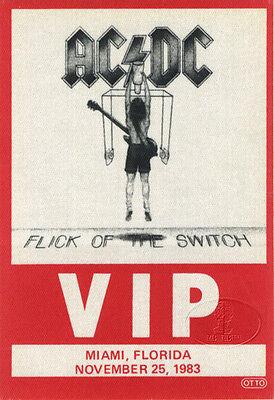 AC/DC 1983 FLICK/SWITCH TOUR Backstage Pass MIAMI