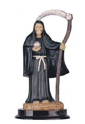 5 Inch Black Santa Santisima Muerte Holy Death Grim Reaper Statue Skull Figure
