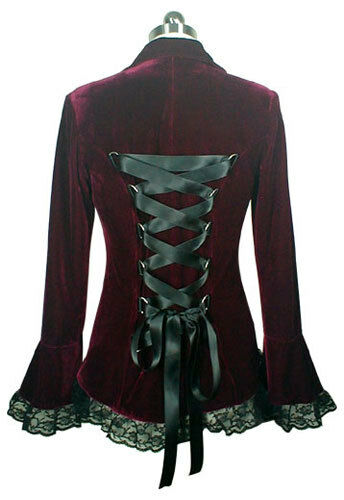 PLUS SIZE Velvet Victorian GOTHIC Corset Laced Jacket BURGUNDY Sizes 14/16 to 28