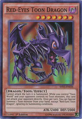 YuGiOh Red-Eyes Toon Dragon - SHVI-EN036 - Super Rare - 1st Edition Near Mint