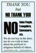 No Hawkers Sign