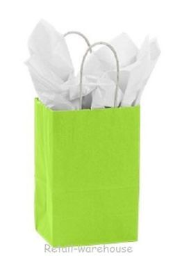 """Paper Shopping Bags 100 Lime Green Gift Merchandise Small 5 ¼"""" x 3 ½"""" x 8 ½"""