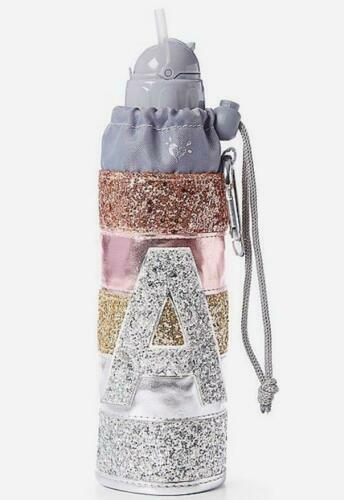 Justice Nwt Initial glitter stripe water bottle Select A, K, M, S