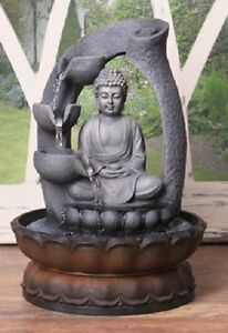 Buddha Table Top Water Feature Indoor LED Light Mains Powered Grey Stone