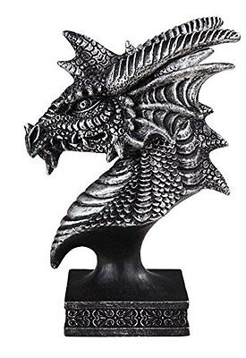 """4.5"""" Black and Grey Dragon Head and Bust Statue Figurine Fantasy Figure"""