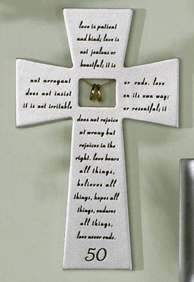 Resin Stone 50th Wedding Anniversary Hanging Wall Cross Decor Gift Idea (50th Wedding Anniversary Decoration Ideas)