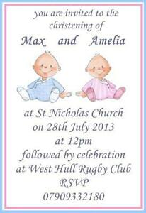 Christening invitations cards invites ebay twin christening invitations stopboris