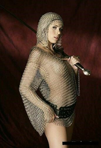 Aluminium Butted Medieval Chain Mail Bra Top and Coif Viking for Women