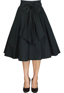 Black-Swing-Skirt-RocknRoll-50s-Rockabilly-Punk-Circle-PinUp-Plus-Size-8-30