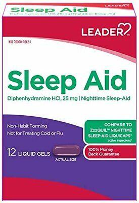 Leader Sleep Aid 25mg Liquid Gels, 12ct, 5 Pack 096295131109