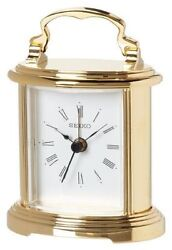 New Seiko Desk And Table Alarm Carriage Clock Gold-tone Metal Case