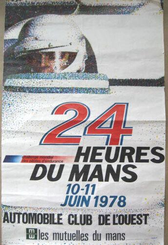 Poster 1978 24 Heures Mans original Le Mans Hours race A