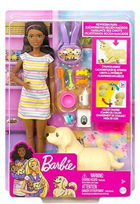 """Barbie Doll and Newborn Pups Playset 11.5"""" Brunette Mommy Dog & 3 Puppies"""