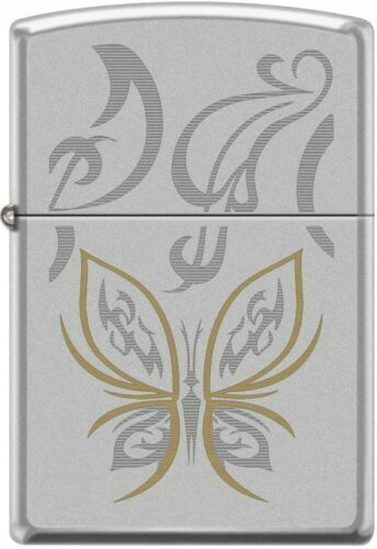 Zippo Golden Butterfly Satin Chrome Windproof Lighter 24339
