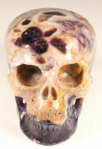 Huge Gemstone 5.0 IN Genuine Dream Amethyst Carved Crystal Skull,Healing #1015
