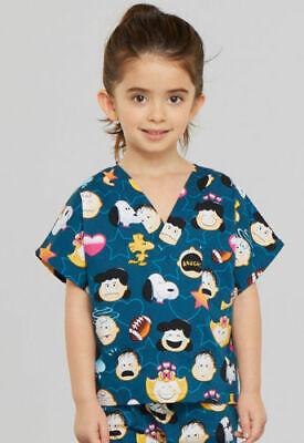 NWT Tooniforms PEANUTS EMOJI Kids Top Large Snoopy Print Scrubs Halloween Nurse